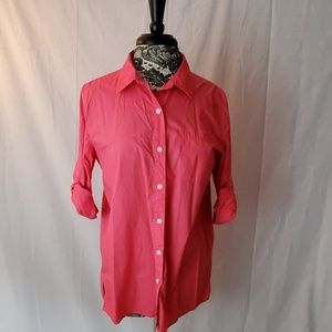 DKNY Pink Button Down Top Size L